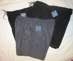 NWT CROFT & BARROW Swim Bathing Suit Trunks Mens XXL black or gray solid Poly image 1