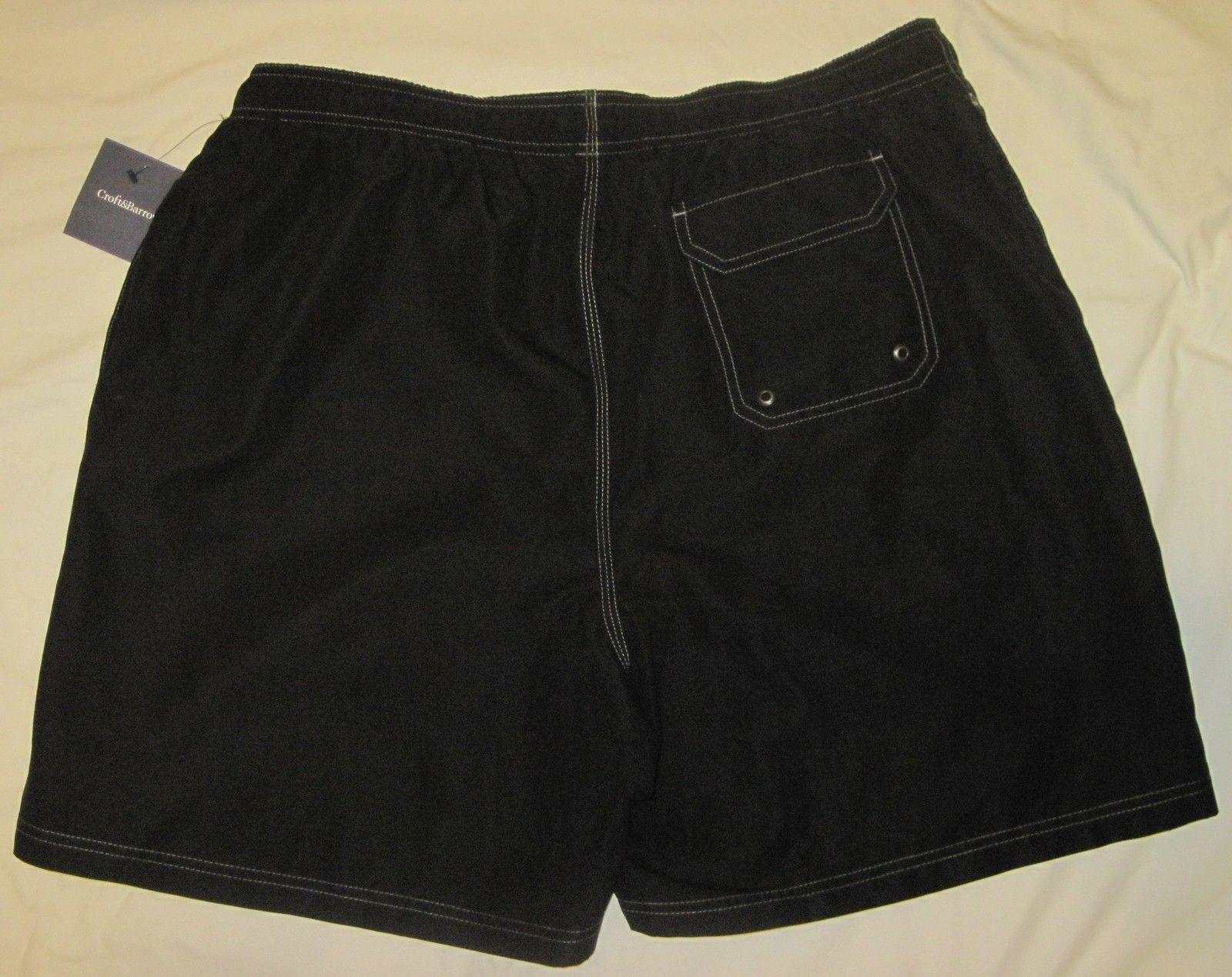 NWT CROFT & BARROW Swim Bathing Suit Trunks Mens XXL black or gray solid Poly image 4