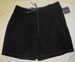 NWT CROFT & BARROW Swim Bathing Suit Trunks Mens XXL black or gray solid Poly image 3