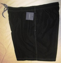 NWT CROFT & BARROW Swim Bathing Suit Trunks Mens XXL black or gray solid Poly image 2