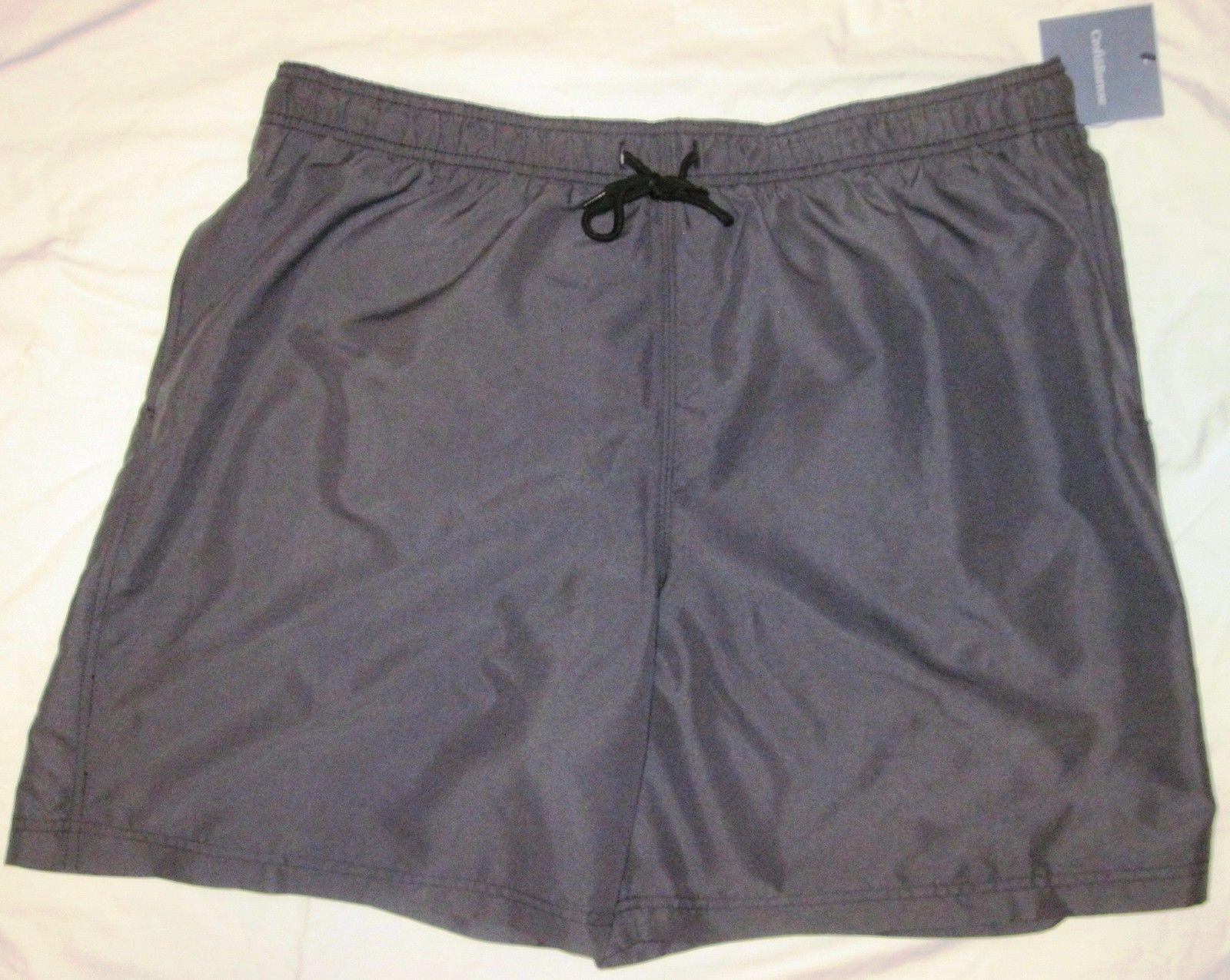 NWT CROFT & BARROW Swim Bathing Suit Trunks Mens XXL black or gray solid Poly image 7