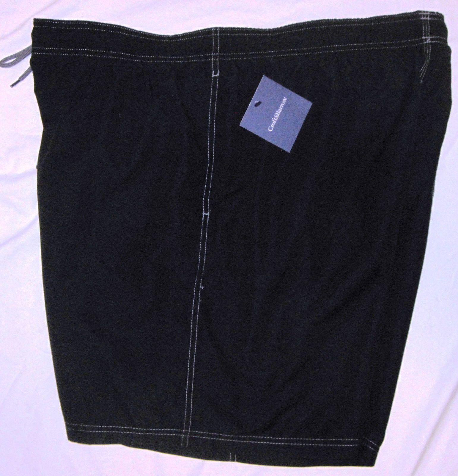 NWT CROFT & BARROW Swim Bathing Suit Trunks Mens XXL black or gray solid Poly image 5