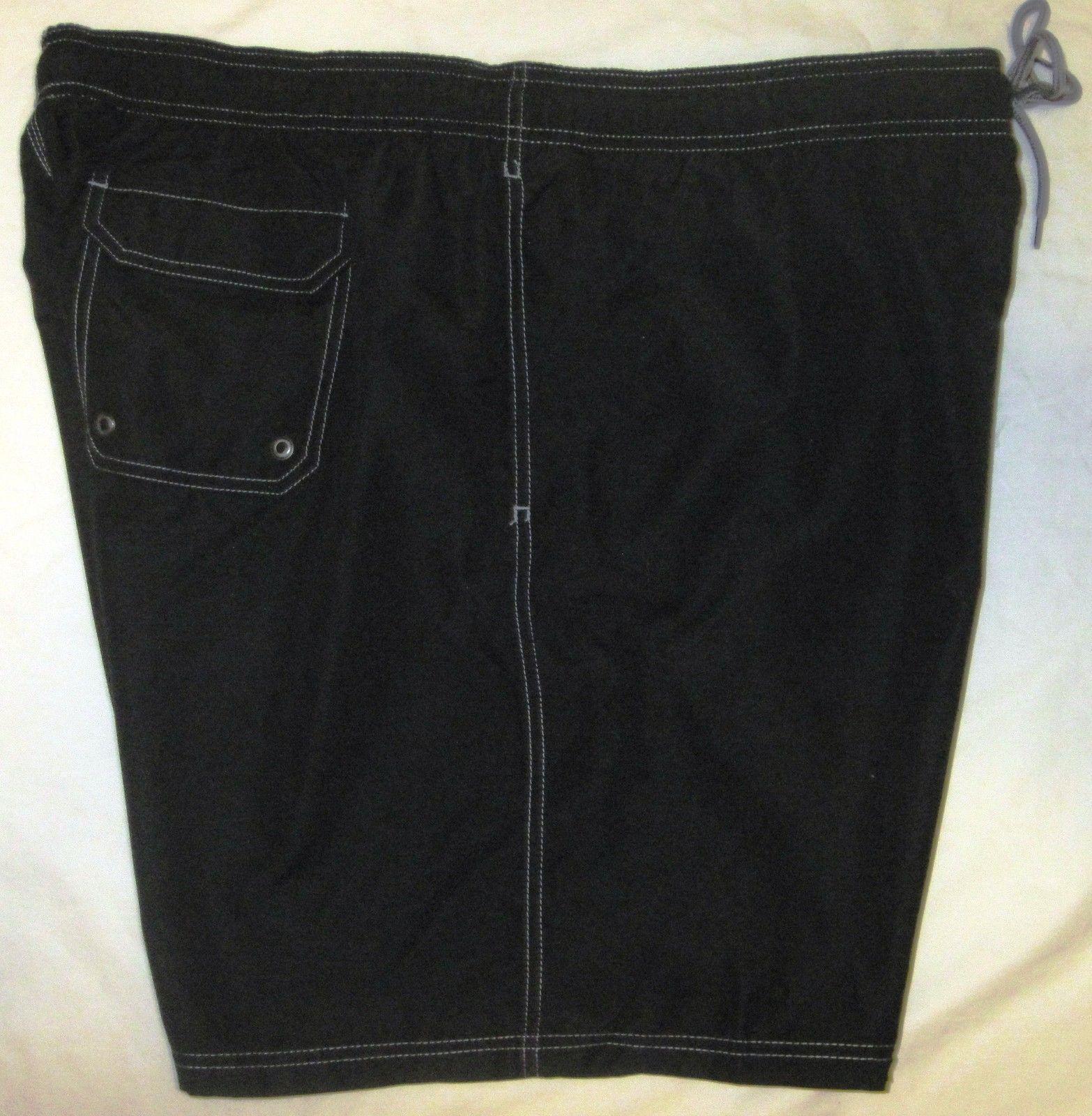 NWT CROFT & BARROW Swim Bathing Suit Trunks Mens XXL black or gray solid Poly image 6