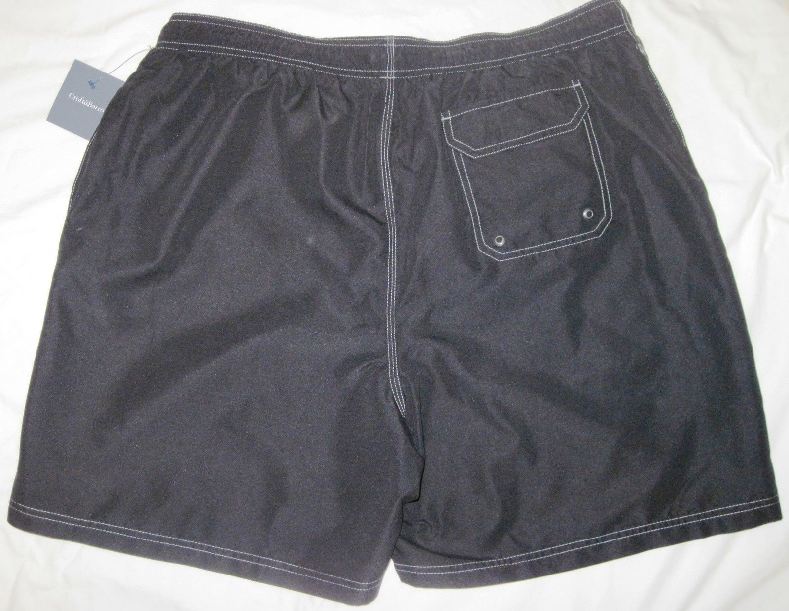 NWT CROFT & BARROW Swim Bathing Suit Trunks Mens XXL black or gray solid Poly image 8