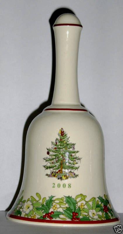 NIB SPODE 2008 CHRISTMAS TREE BELL 7 1/4 inch Porcelain 70 th  ANNIVERSARY L ED