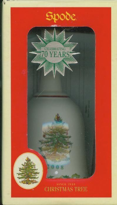 NIB SPODE 2008 CHRISTMAS TREE BELL 7 1/4 inch Porcelain 70 th  ANNIVERSARY L ED image 3