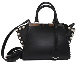 New Fendi 3Jours Mini Black Leather Pearl Detail Messenger Bag - $1,661.10