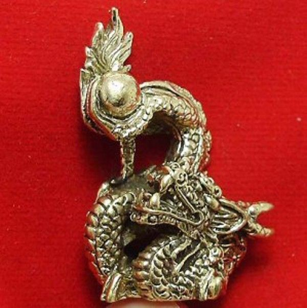 LUCKY DRAGON HOLD MAGIC FIRE BALL REAL CHINA THAI MINI AMULET THAILAND NICE GIFT