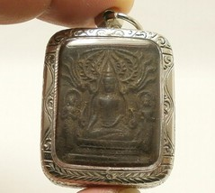 LP BOON LORD BUDDHA & 2 DISCIPLES THAI HEALING AMULET LONG HEALTHY LIFE PENDANT image 1
