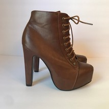 Wild Diva Lounge Brown Boots High Heels Lace Up Side Zipper Ankle Boots ... - $67.72