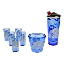 """Art Deco Hazel-Atlas Ritz Blue Windmill """"Sportsman"""" Cocktail Shaker Glas... - $135.00"""