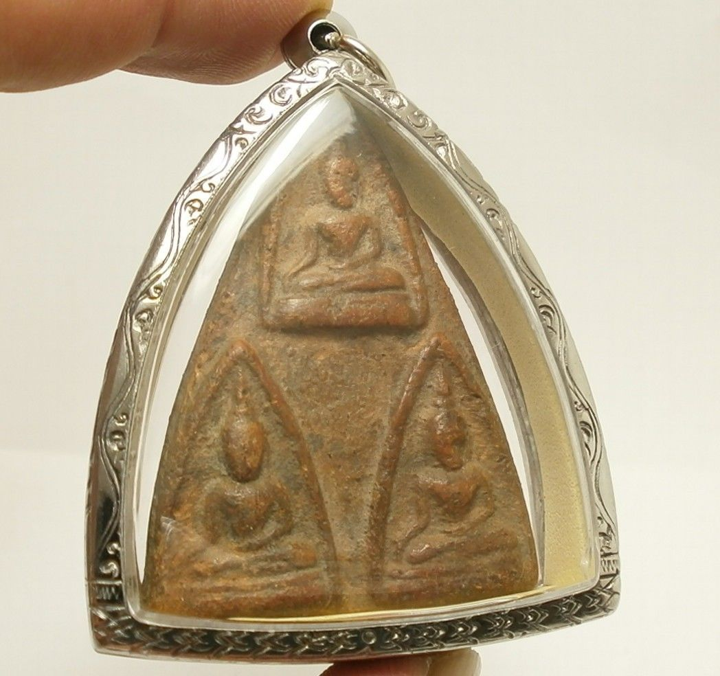 LORD BUDDHA TRIPLE BLESSING AMULET THAI REAL POWERFUL SUCCESS LUCKY RICH PENDANT image 3