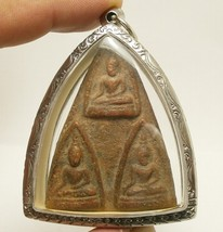 LORD BUDDHA TRIPLE BLESSING AMULET THAI REAL POWERFUL SUCCESS LUCKY RICH PENDANT image 1