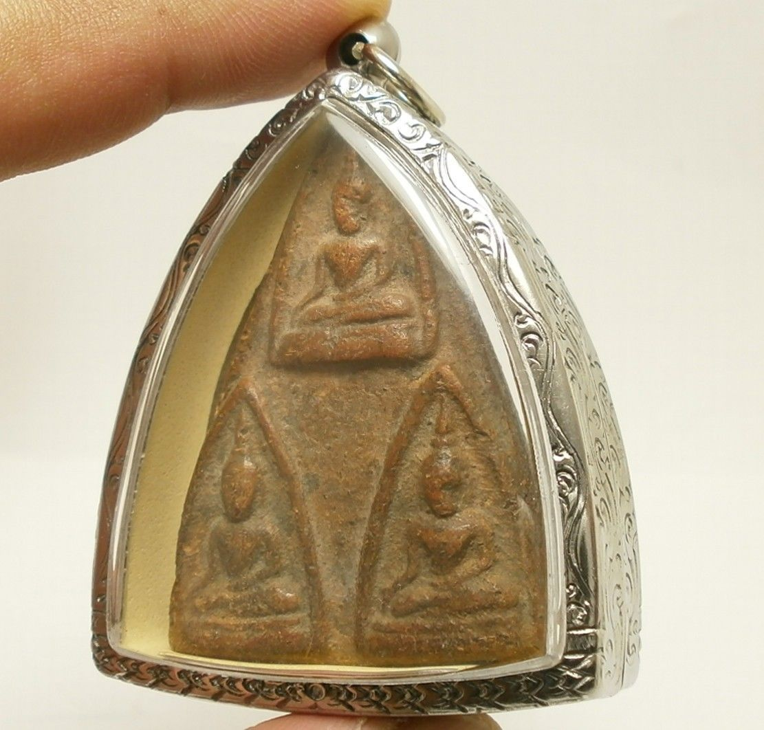 LORD BUDDHA TRIPLE BLESSING AMULET THAI REAL POWERFUL SUCCESS LUCKY RICH PENDANT image 2