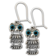 Goddess Athena's Wise Little Owl -  Sterling Silver Earrings with Hooks   - $45.00