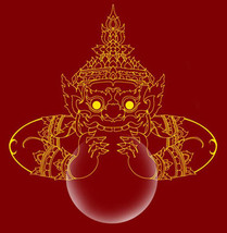 TINY RAHU OM MOON MINI BALL WEALTH LUCKY THAI MAGIC BLESSED AMULET THAILAND GIFT image 2