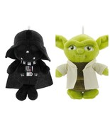 "Hallmark Christmas Ornaments Darth Vader 6"" & Yoda 5"" Star Wars Disney Plush New - $19.79"