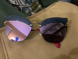 New Miu Miu Frameless Cat Eye Violet Mirrored Sunglasses Smu 56T - Italy - $292.04