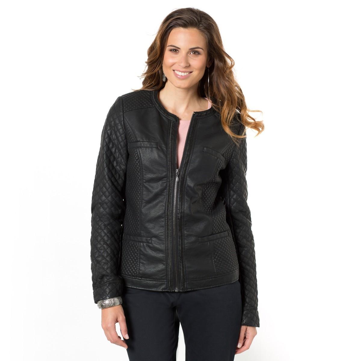 New Stylish Quilted Crew Neck Women's Genuine Leather Biker Jacket