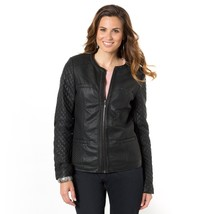 New Stylish Quilted Crew Neck Women's Genuine Leather Biker Jacket