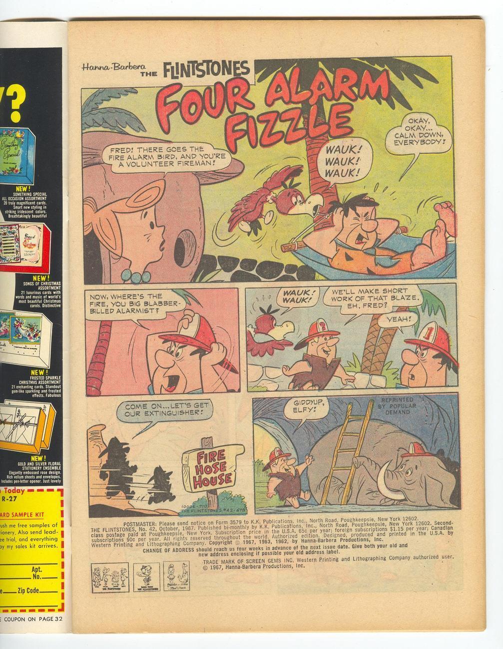 The Flintstones No 42 Comic 1967 GOLD KEY 12cent  Hanna Barbera TV Cartoon Show