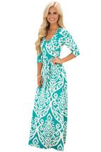 Mint Ivory Damask Print Wrap V Neck Boho Dress - $17.20