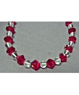 "RED & CRYSTAL BEADS, 28"" WITH MATCHING EARRINGS  Designed & crafted by t... - $6.99"