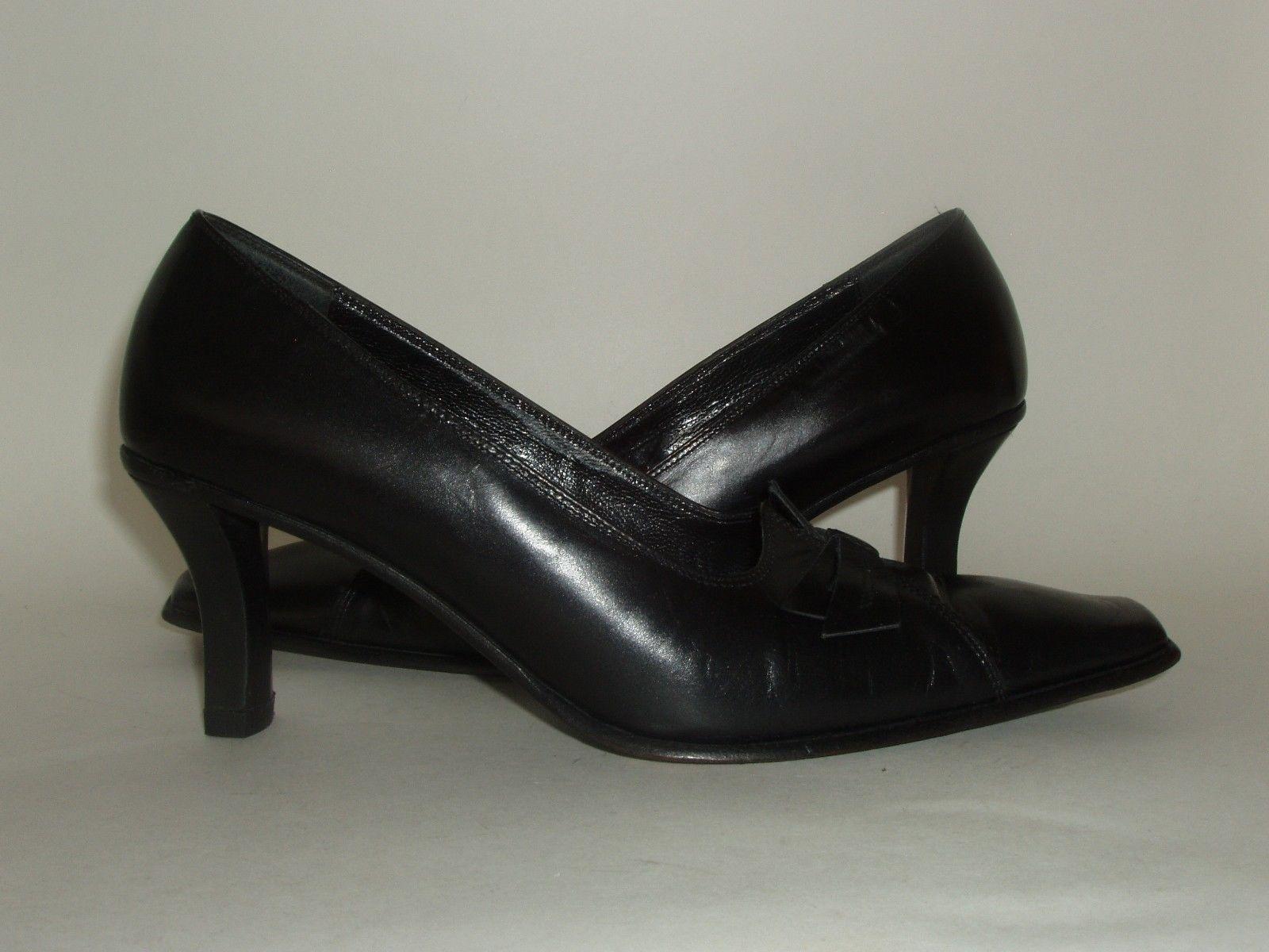 Roberto Botticelli Italian Made Black Leather High Heel Shoes Euro 37.5 US 7.5 image 3
