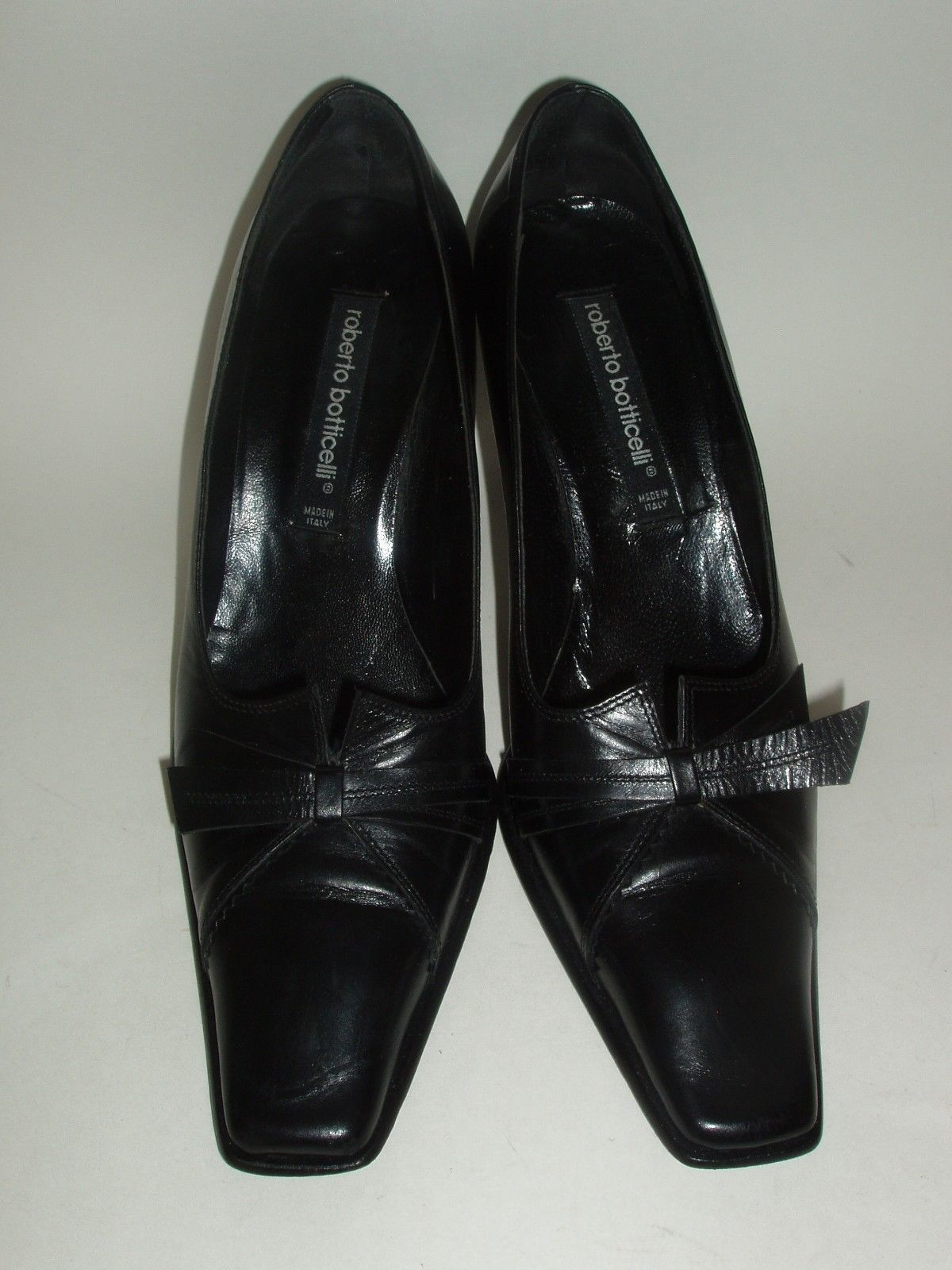 Roberto Botticelli Italian Made Black Leather High Heel Shoes Euro 37.5 US 7.5 image 2