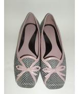 Nine West Herringbone Fabric Mauve Leather Bow & Trim Square Toe Flats 8M - $35.75