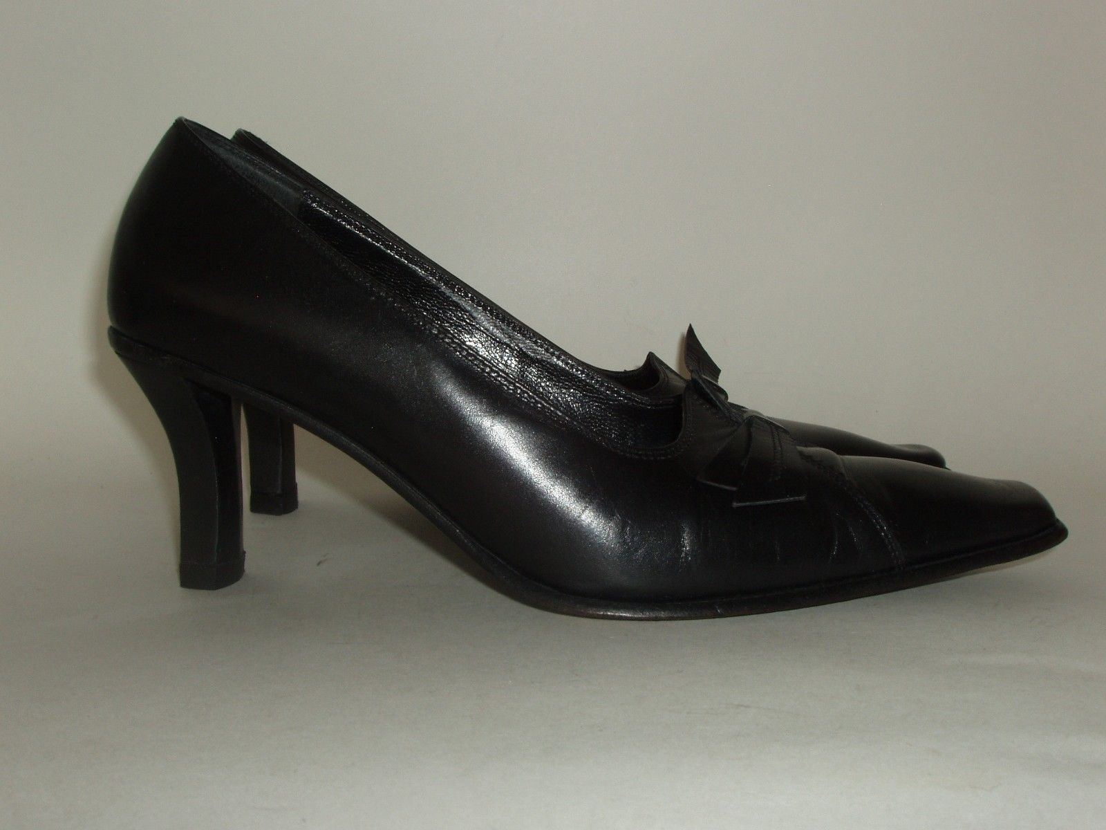 Roberto Botticelli Italian Made Black Leather High Heel Shoes Euro 37.5 US 7.5 image 5