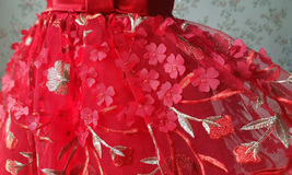 Girl Lace Tulle Red Party Dress Red Embroidery Wedding Flower Girl Dresses- 4-16 image 2