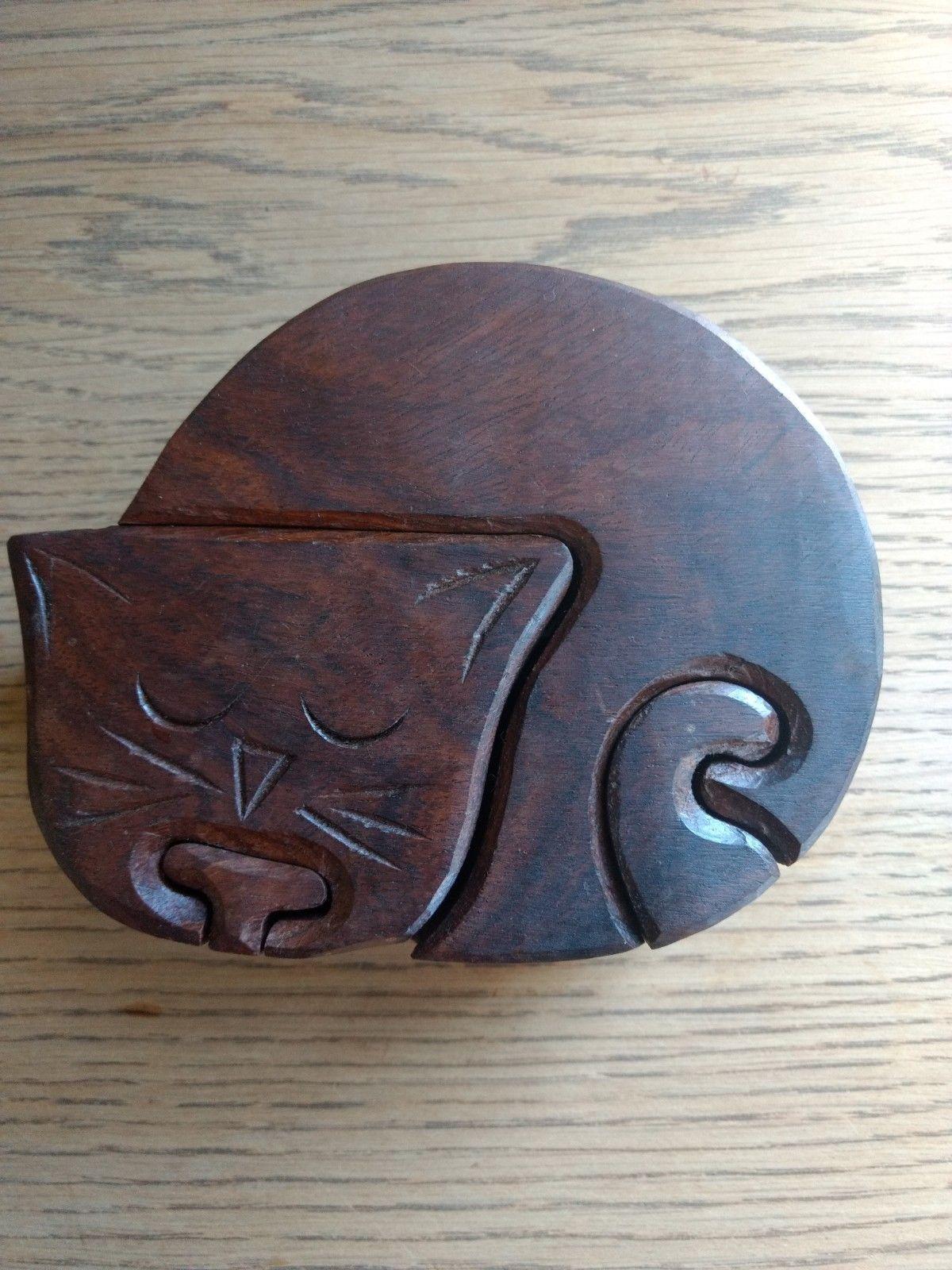 CAT SHAPE PUZZLE GAME BOX WITH VAULT TRINKET JEWEL BOX HANDMADE TEAK WOOD