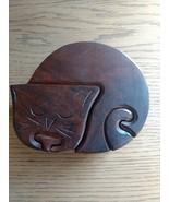 CAT SHAPE PUZZLE GAME BOX WITH VAULT TRINKET JEWEL BOX HANDMADE TEAK WOOD - $13.00
