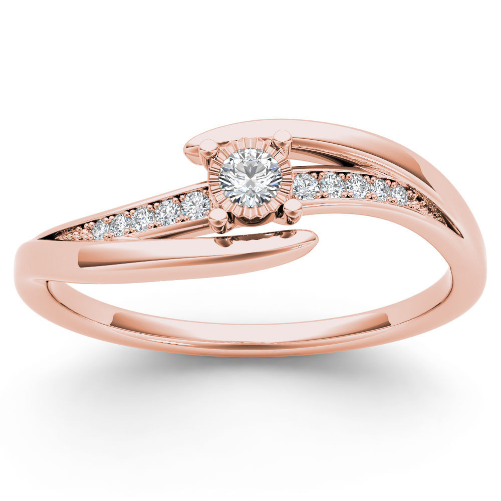 IGI Certified 14k Rose Gold 0.10 Ct Natural Diamond Fashion Engagement Ring