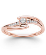 IGI Certified 14k Rose Gold 0.10 Ct Natural Diamond Fashion Engagement Ring - £243.13 GBP