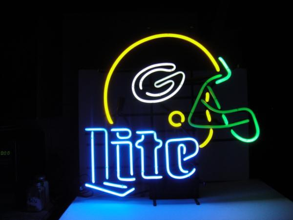 "Primary image for Miller Lite NFL Green Bay Packers Football Helmet Neon Sign 18"" x 13"""