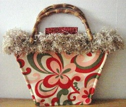 NWOT Bag Daddy Fun Funky Paisley Design Cream With Pink Red & Green Size Small image 1