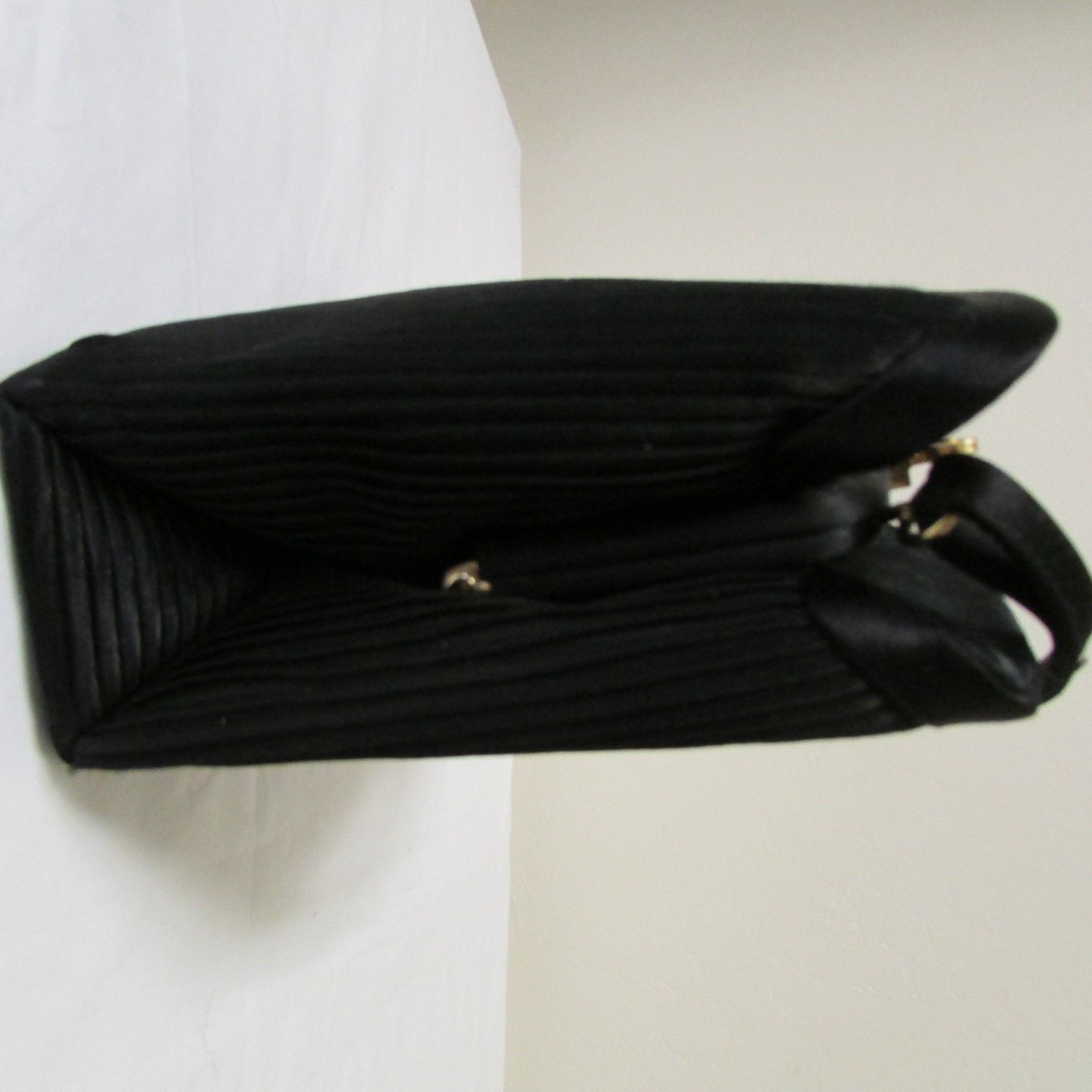 Black Satin 3 Section Small Evening Bag image 3