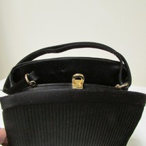 Black Satin 3 Section Small Evening Bag image 2