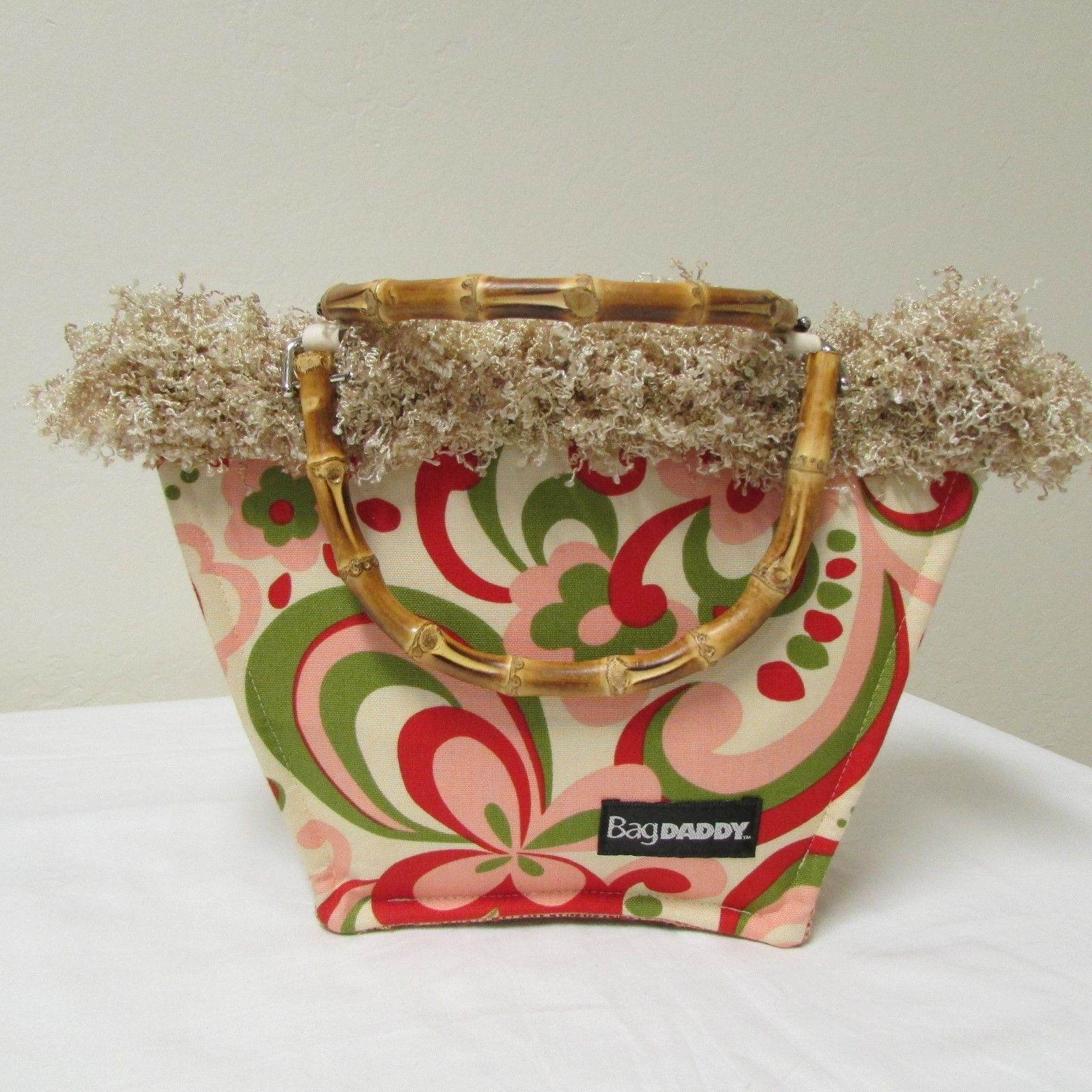 NWOT Bag Daddy Fun Funky Paisley Design Cream With Pink Red & Green Size Small image 2