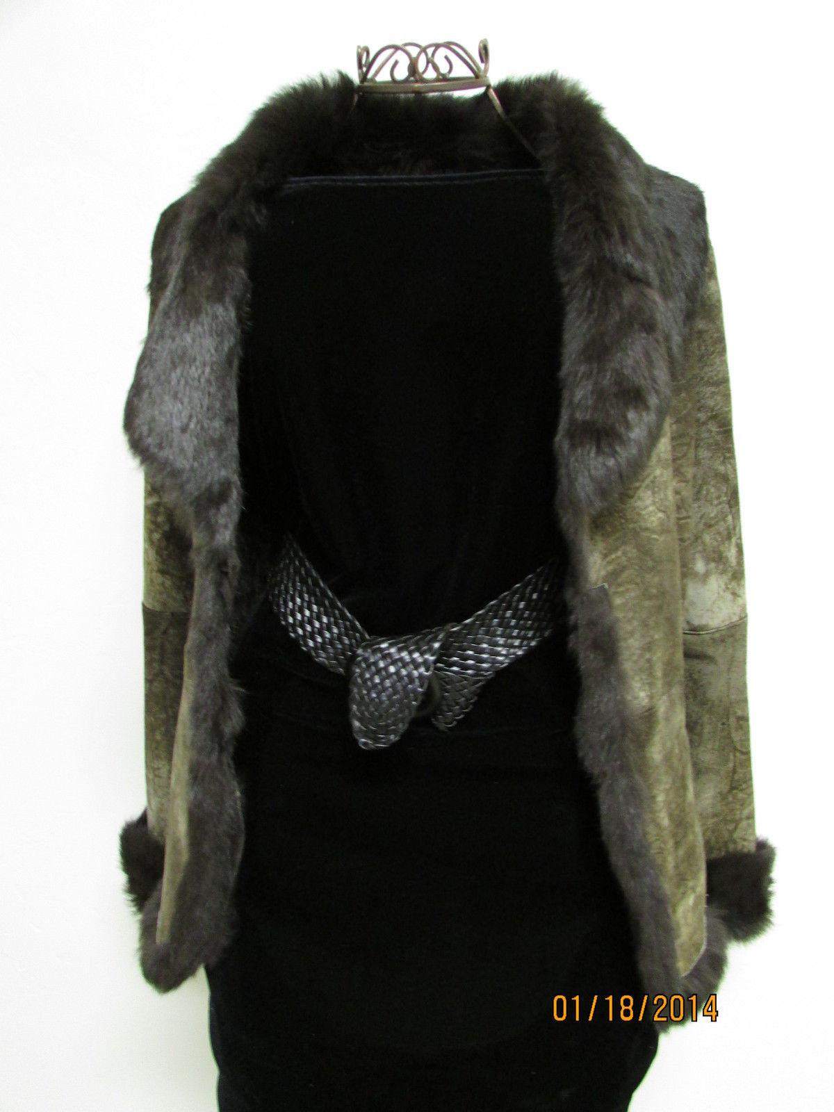 Beautiful Brown Suede Jacket Deep Brown Rabbit Fur Lining by RedFish Designs