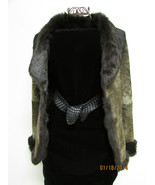 Beautiful Brown Suede Jacket Deep Brown Rabbit Fur Lining by RedFish Des... - $93.00