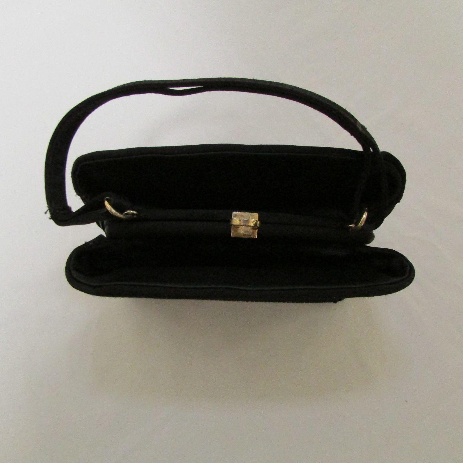 Black Satin 3 Section Small Evening Bag image 5
