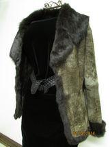 Beautiful Brown Suede Jacket Deep Brown Rabbit Fur Lining by RedFish Designs image 5