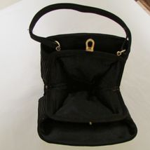 Black Satin 3 Section Small Evening Bag image 6