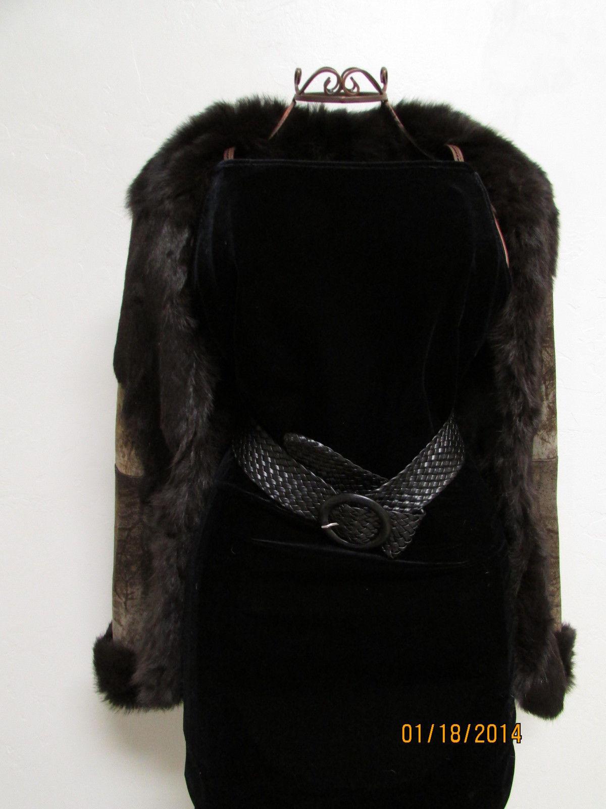 Beautiful Brown Suede Jacket Deep Brown Rabbit Fur Lining by RedFish Designs image 6