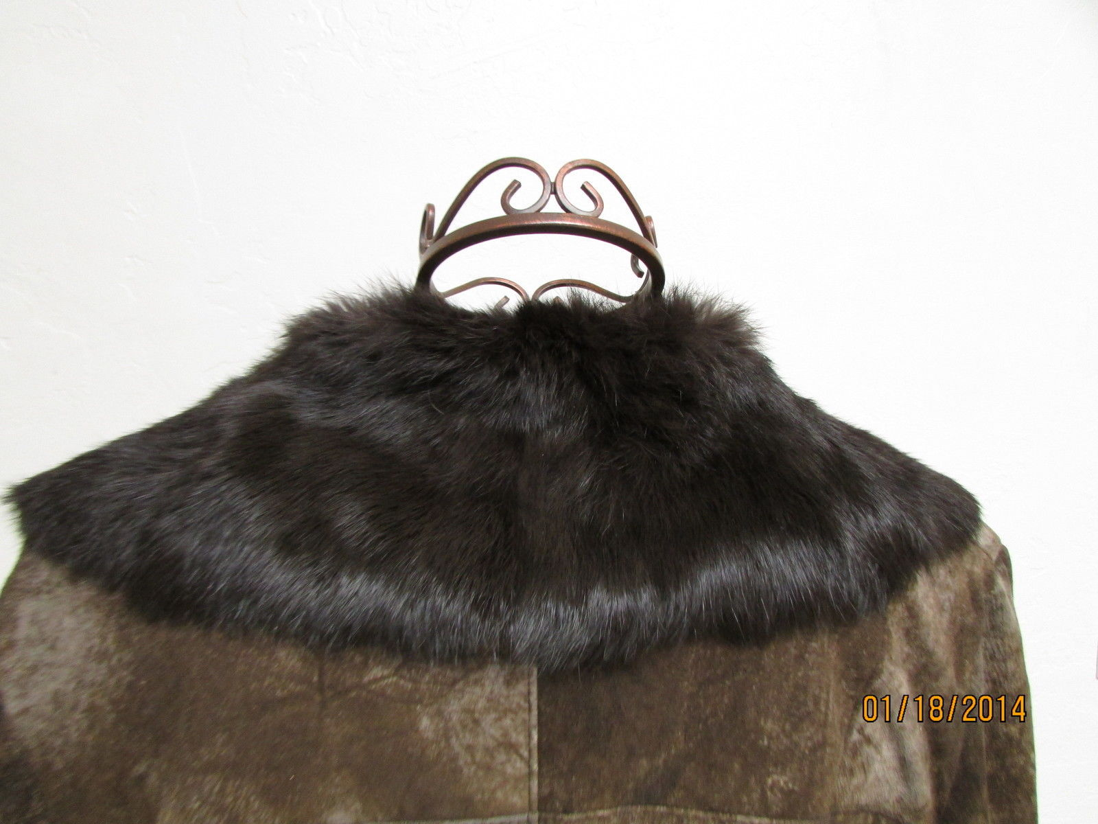 Beautiful Brown Suede Jacket Deep Brown Rabbit Fur Lining by RedFish Designs image 7
