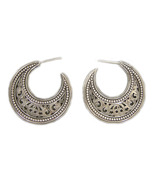 Gerochristo 1163 - Sterling Silver Medieval Byzantine Crescent Earrings... - $190.00