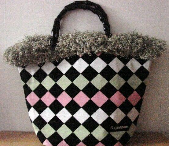 NWOT Bag Daddy Fabric Lime Green Pink Black Handbag Black Bamboo Style Handles